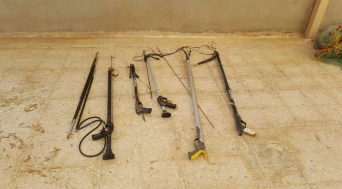 Управление рыбного хозяйства в Янбу конфисковало рыболовные сети и ружья для подводной охоты, запрещённые к использованию