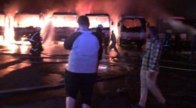 Рабочие сожгли автобусы компании бин Ладена в знак протеста против задержки жалования