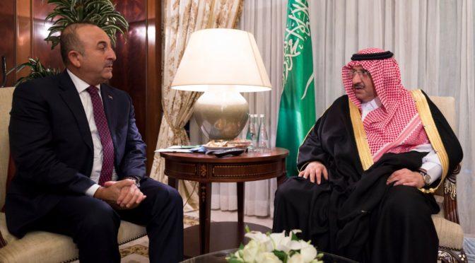 Его Высочество наследный принц и министр иностранных дел Турции обсудили последние события в регионе и вопросы, представляющие взаимный интерес