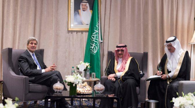 Его Высочество наследный принц провёл переговоры с Госсекретарём США, обсудив сотрудничество двух стран и развитие ситуации на Среднем Востоке