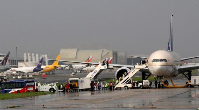 Эвакуация из саудийского самолёта в аэропорту Манилы