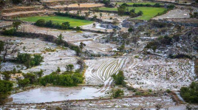 Обильные дожди в округе Намус окрасили в белый цвет сельскохозяйственные террасы