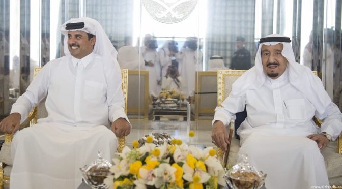 Служитель Двух Святынь принял Эмира государства Катар и дал торжественный обед в честь Его Высочества