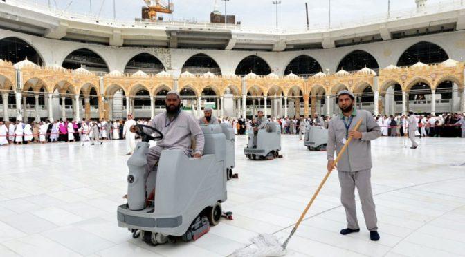 Управление по уборке и очистки при Главном управлении по делам Двух Святынь применяет всю свою энергию в служении Запретной Мечети