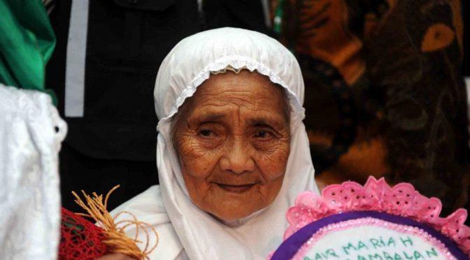 Прибытие старейшей индонезийки в Хадж