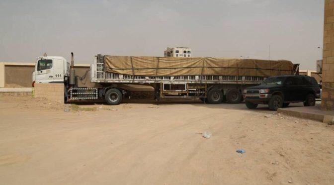 Прибытие 6 грузовиков от Центра  им.Короля Салмана с оборудованием для школ Маариба