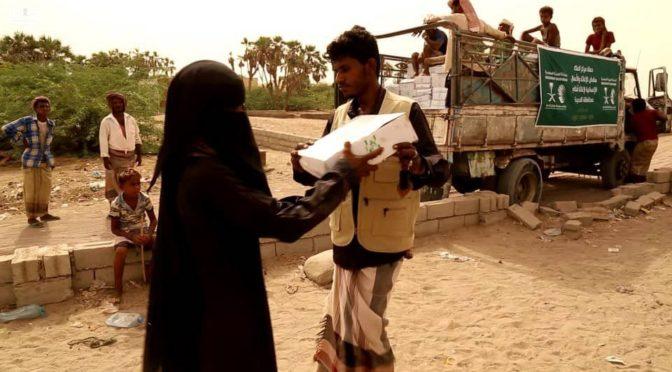 Центр гуманитарной помощи им.Короля Салмана  продолжают распределение гуманитарной помощи в провинции Ходейда
