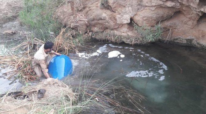 Уничтожено 3500л. самогона, спрятанного в водоёме в вади Хали в округе Мухайял