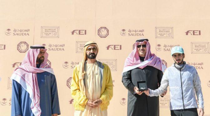 Губернатор провинции лучезарной Медины  чествовал победителей Чемпионат кубка Служителя Двух Святынь конных скачек силы и выносливости