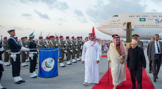 Служитель Двух Святынь прибыл в Тунис во главе делегации Королевства на самиите Лиги арабских государств