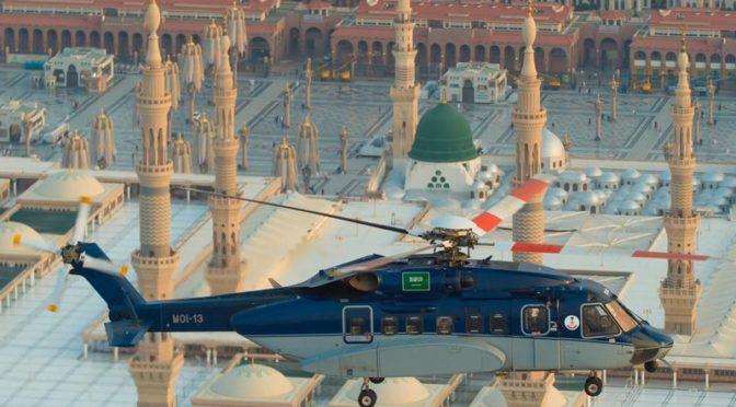Авиация сил безопасности продолжает полёты в небе над Лучезарной Мединой