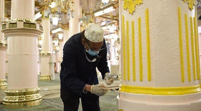 огромные усилия Генерального управления по делам  мечети Пророка по принятию превентивных мер для защиты молящихся и  посетителей от коронавируса