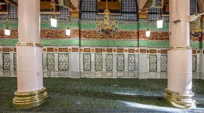 Завершены  работы по реставрации и обслуживанию стены кыблы в Благородной мечети Пророка