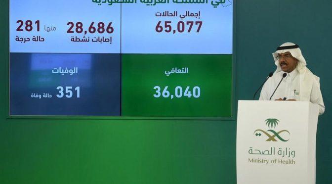 Министерство здравоохранения: Зафиксировано 2532 новый случай заражения коронавирусом, общее число инфицированных возросло до 65077