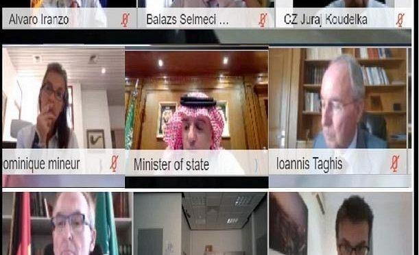 Саудовский государственный министр по иностранным делам по видеосвязи встретился с послами ЕС, аккредитованными в КСА