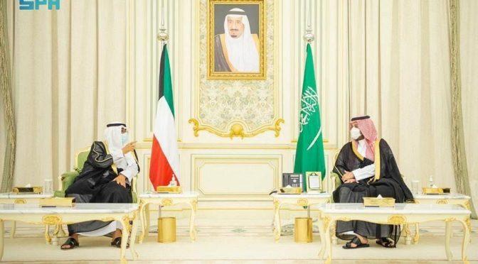 Его Высочество наследный принц КСА встретил наследного принца Кувейта по его прибытии в Эр-Рияд